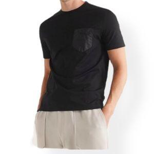21 Men Waffle Knit Faux Leather Pocket Black Tee S